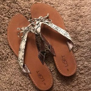 White and Black LOFT Thong Sandals